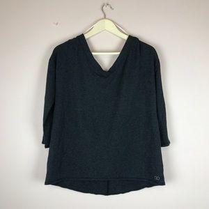 CALIA Effortless V Neck Sweatshirt in Charcoal